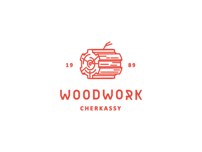 Woodwork logo mark wood gear workshop