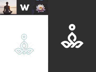 W mark sign w shadow geometry medicine lotus retreat meditation yoga logo