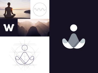 Retreat consciousness sunrise sun mountain w meditation yoga retreat mark logo