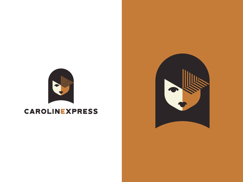 Caroline shade negative space woman shipping post express delivery box girl mark logo