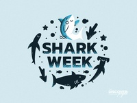 Shark Week | The Discover Project danny texture blue ocean underwater sharkweek shark illustration