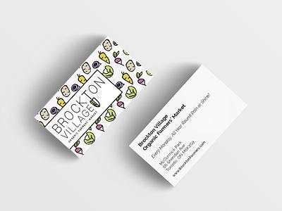 Brockton Village Organic Farmers' Market typography illustration farmers market vegetables motif pattern business cards