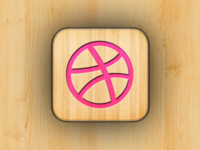 Wooden Dribbble App Icon