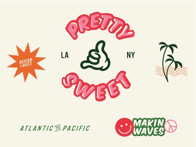 Pretty Sweet stickers study california beach socal branding logo design typography type illustration