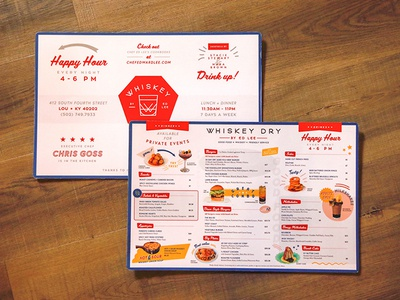 Whiskey Dry Menu logo type typography menu design idenity branding restaraunt diner lock up design menu