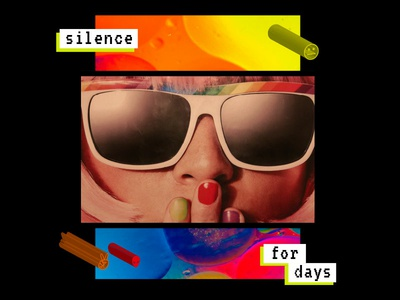 Silence For Days typography art print color type collage study