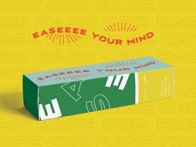 Ease CBD package mockup box design cbd cbd oil packaging type typography illustration branding branding concept