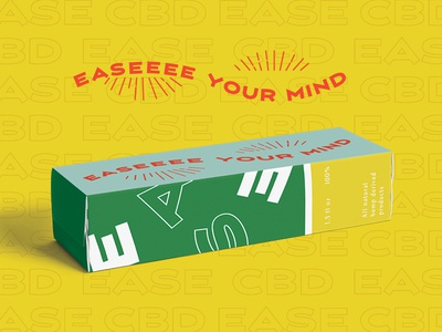 Ease CBD package mockup box design cbd cbd oil packaging type typography illustration branding branding concept