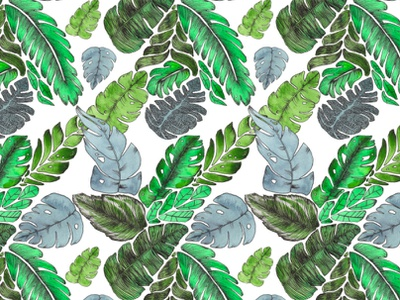 Lost in the tropics surface pattern summer tropical jungle surface design illustration watercolor art leaves ink handdrawn tropics