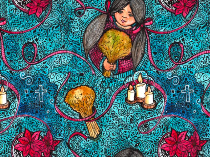 The Legend of the Poinsettia childrens illustration kid art kids holidays legendofpoinsettia surfacepattern pattern folktale story legend handdrawn ink illustration art illustration poinsettia christmas