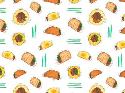 Taco Party watercolor inkpen ink illustration foodart taco surfacepattern surface pattern design surface design pattern