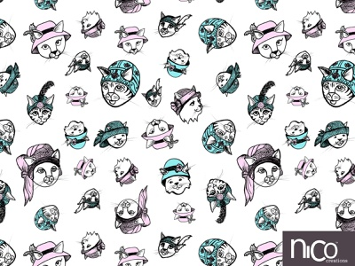 Flapper Cats Love to Wear Hats inkpen ink handdrawn whimsical design surfacedesign surfacepatterndesign pattern illustration cats in hats cat drawing cat illustration cats