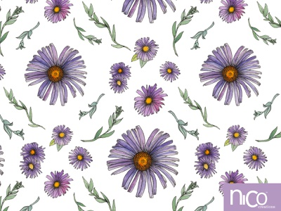 Sweet & Wild Soft Purple and Gold Aster Flowers wildflowers floral surface pattern design surface design leaves flowers watercolor illustration ink handdrawn pattern
