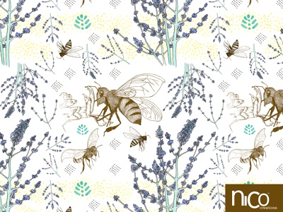 Russian Sage and Bumblebees inkpen floral surface pattern design leaves flowers watercolor ink handdrawn illustration surface design repeat pattern botanical russian sage sage bumblebee bees