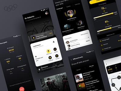 Cycling Apps olympic rank ui tracking yellow bike home sport dark black cycling