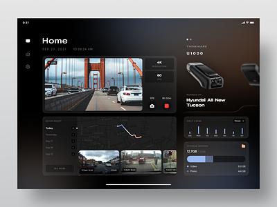 Thinkware Dashcam Mobile App (iPad) - Exploration dark ui exploration dashboard map car tablet app dashcam