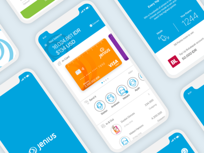 UI Jenius Mobile Bank iphone x jenius app finance app minimal simple blue app money finance bank jenius iphone