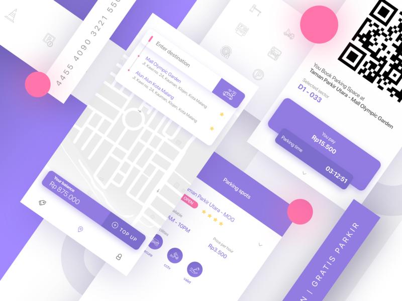 UI Parking App icon qrcode map parking lot parkir ticket purple parking app parking design app simple