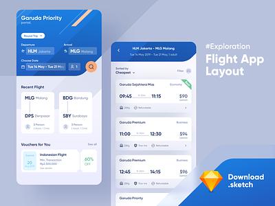 #Exploration Flight App ticket sketch app freebies exploration layout ticket booking flight