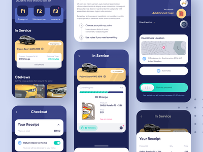 Exploration | Car Services App trucks blue workshop garage landingpage maintenance service car app design exploration simple