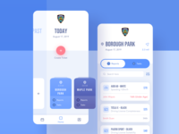 Police Dept App - Exploration layout nypd list navbar card tab reports emergency police iphone blue exploration simple