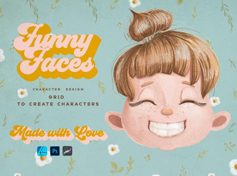 Cute Kids Grids for Procreate procreate art character art character design procreate grids procreate brushes