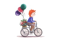 A Boy Rides A Bicycle Carries Flowers Gifts Balloons Watercolor