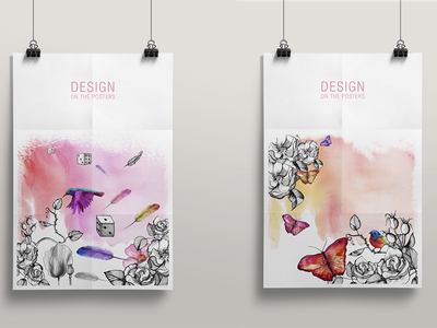 Watercolor and graphic quality birds bird watercolor rose thorns hummingbird butterfly ink graphite pencil poppies bud playing dice