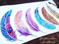 Watercolor cosmic feathers