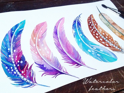 Watercolor cosmic feathers cosmic feathers bright cosmic watercolor feathers
