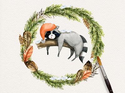 Raccoon 2017 feathers pine cones spruce green snow animal wreath watercolor christmas raccoon