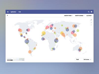 Data visualization map minimal web ux ui colors cluster filter data map