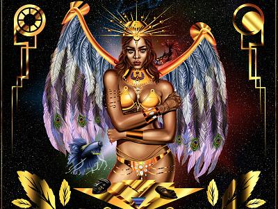 Queen Rihanna hair painting photoshop portraits beauty digital painting gold golden digital portrait queen rihanna queen rihanna