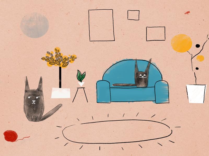 A cat palace digital drawing cats photoshop minimalism illustration