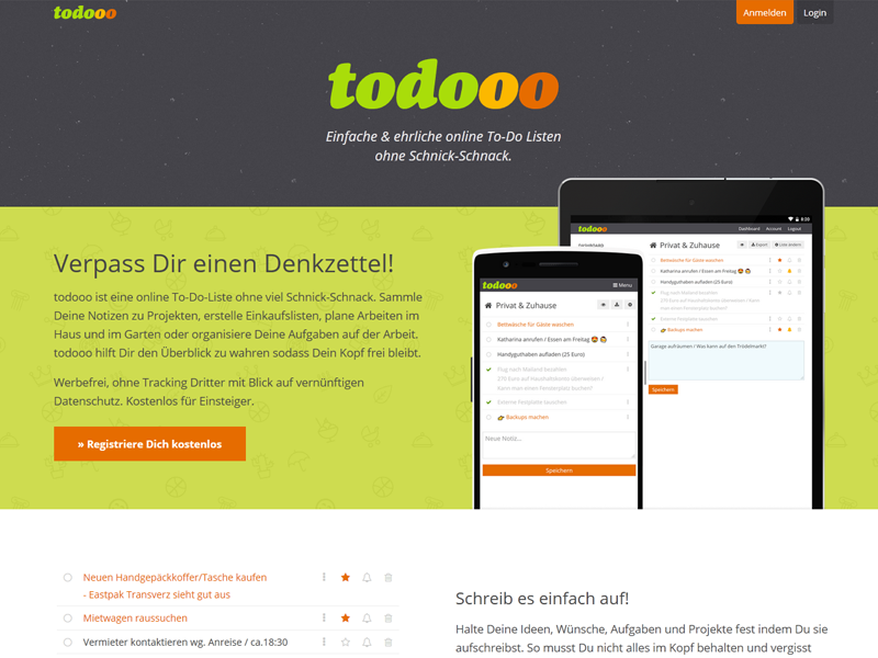 Simple & elegant german screenshot responsive frontpage homepage todo todolist website