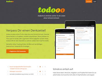 Simple & elegant german screenshot responsive frontpage homepage todo todolist website