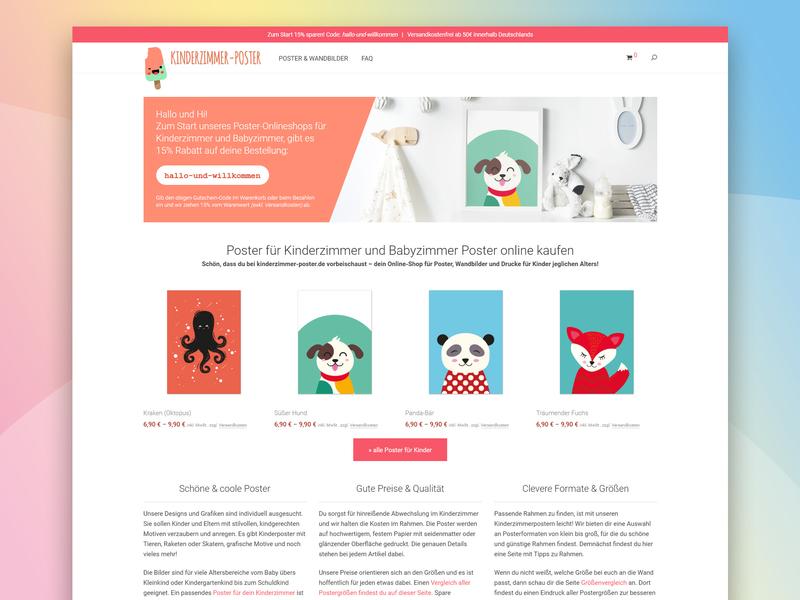 Poster Onlineshop Frontpage wordpress woocommerce design kids online shop poster art flat responsive frontpage website onlineshop
