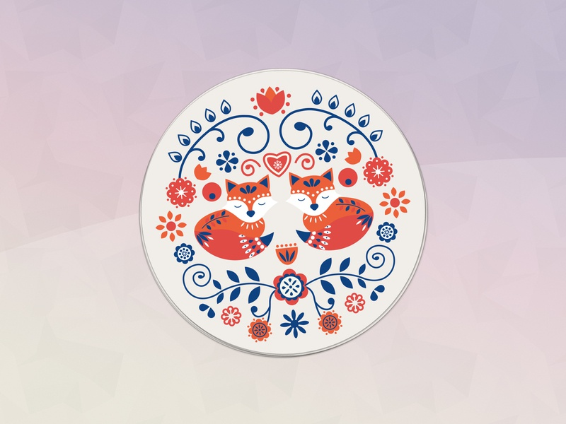 Hygge Coaster illustration pattern foxes design scandinavian hygge coaster