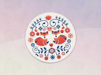 Hygge Coaster illustration pattern foxes design scandinavian hygge coaster
