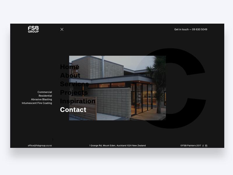 FSB menu screen slider banner residential house home real-estate property builder menu construction painters website