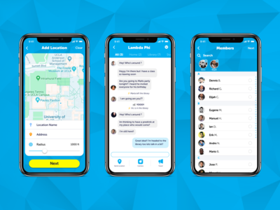 Location and Chat design app ui ux mobile ios