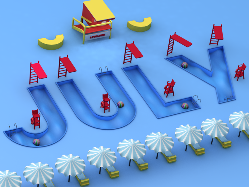 JULY~summer vibes illustration c4dtoa 3dartist 3dart 3d c4dart cinema4d c4d
