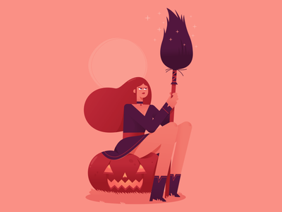 Halloween cute design illustrator digitalart halloween pumpkin vector illustration witch