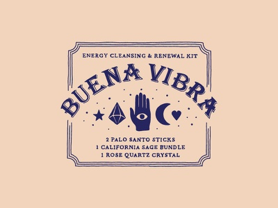 Buena Vibra ouija board mystical psychedelic good vibes simple branding packaging handlettering
