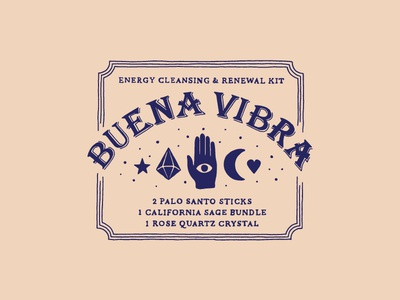 Buena Vibra ouija board mystical psychedelic good vibes simple branding packaging handlettering