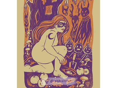 Samhain folk art horror halloween samhain goddess pagan body positive illustration affinity