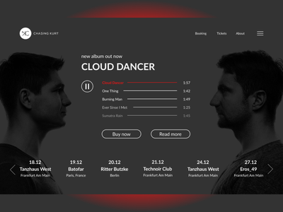 Concept for house-music duet Chasing Kurt web ux ui figmadesign design