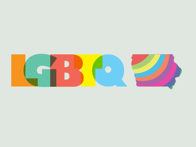 LGBTQ IA gay pride pride overlap multiply block font spectrum rainbow logo iowa lgbtq