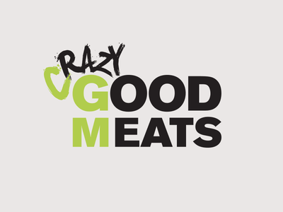 Crazy Good Meats paintbrush sans serif branding logo meat good crazy