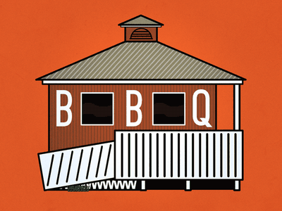 Moe's BBQ illustration flat minimal architecture bbq moes florabama alabama florida orange beach